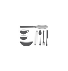 kitchen tools logo icon vector image
