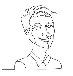 laughing man portrait one line facial expression vector image