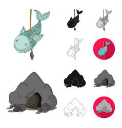 Life in the stone age cartoonblackflat vector