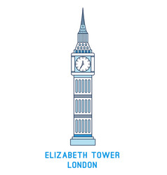 Line art elizabeth tower big ben symbol of vector
