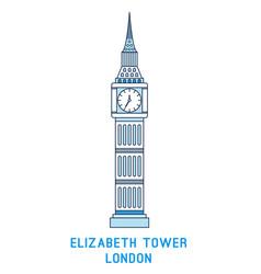 line art elizabeth tower big ben symbol vector image