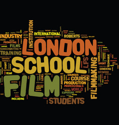London film school text background word cloud vector