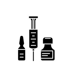 medical shots black icon sign on isolated vector image