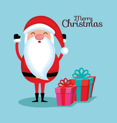 merry christmas santa claus cartoon gift box vector image
