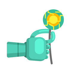 metal android hand holding electronic flower part vector image