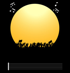 music festival party copy space border and crowd vector image