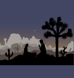 nativity scene and mexican night landscape saint vector image
