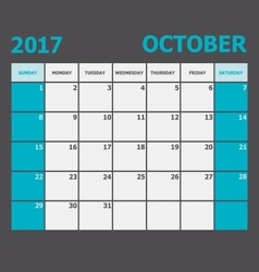 October 2017 calendar week starts on Sunday vector