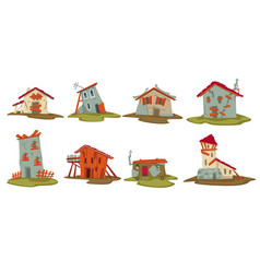 old houses or barns in rural area sheds set vector image