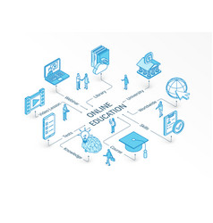 online education isometric concept connected line vector image