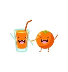 Orange And Juice Cartoon Friends vector