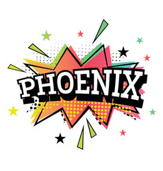 Phoenix comic text in pop art style vector