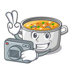 Photographer cooking pot of soup isolated on vector