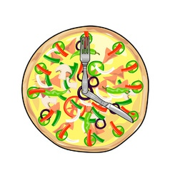 Pizza pie clock vector