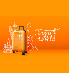 plastic suitcase with different travel stuff vector image