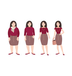 progressive steps of young female cartoon vector image