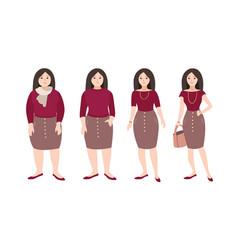 Progressive steps of young female cartoon vector
