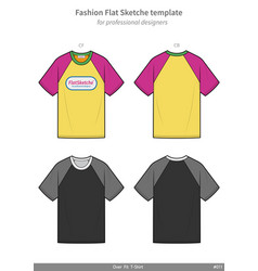 Raglan sleeve tee shirt overfit fashion flat vector