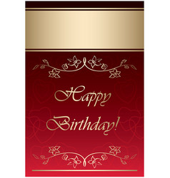 red and gold card - happy birthday vector image