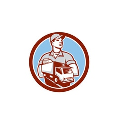 Removal Man Moving Delivery Van Circle Retro vector