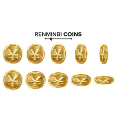 renminbi 3d gold coins set realistic vector image
