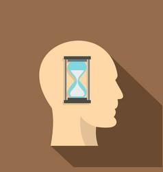 sandglass inside a man head icon flat style vector image