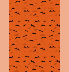 Seamless orange pattern with bats for halloween vector