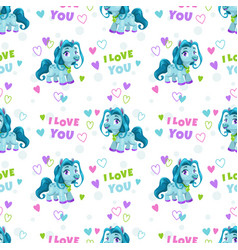 seamless pattern with cute cartoon blue pony and vector image