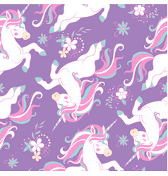 Seamless pattern with dreaming unicorns on purple vector