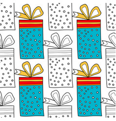 seamless patterns with gift boxes for coloring vector image