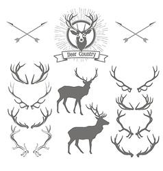 set deers silhouette deer head and antlers vector image