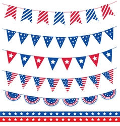 Set of different garland with flag ribbons America vector image