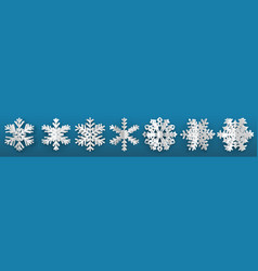 set three-dimensional paper snowflakes vector image