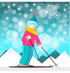 skier with mountins on backraund winter landscape vector image