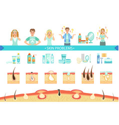 Skin problems infographic medical poster cartoon vector