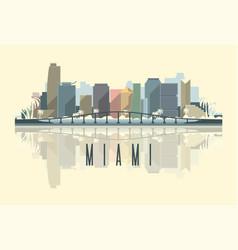 skyline miami city in usa vector image