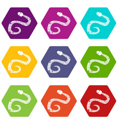 snake icon set color hexahedron vector image
