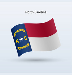 state of north carolina flag waving form vector image
