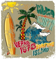 Surfing island crack vector