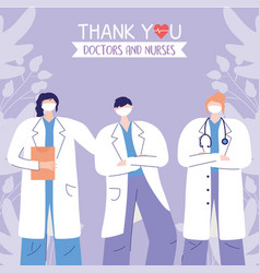 thanks doctors nurses women and man physicians vector image