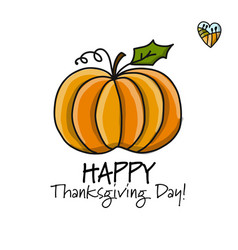 thanksgiving day card with pumpkin for your vector image