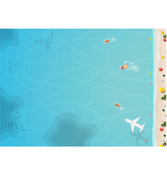 Top view of beach and sea with umbrella vector