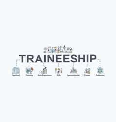 Traineeship program banner web icon for business vector