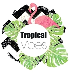 Tropical exotic summer print with palm leaves and vector