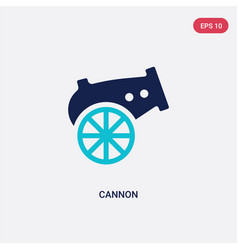 Two color cannon icon from army concept isolated vector