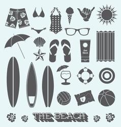 under sun beach icons vector image