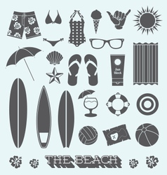 Under the sun beach icons vector