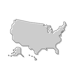 united states of america map modern simple line vector image