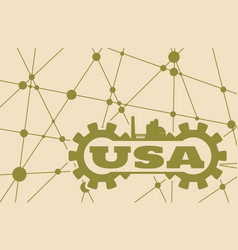 Usa word build in gear vector
