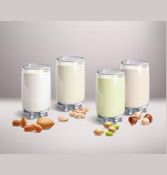 vegan nut-milk in glass vector image